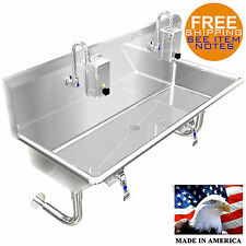 "HAND SINK INDUSTRIAL 2 USERS BASIN 48"" KNEE VALVE MADE IN USA STAINLESS STEEL"