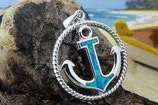 BEAUTIFUL STERLING SILVER BLUE FIRE OPAL ANCHOR IN ROPE FRAME PENDANT