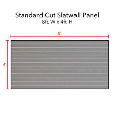 Horizontal Slatwall Panels in Gray 4 ft H x 8 ft W with Metal Inserts - Lot of 2
