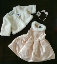 Janie and Jack 12-18 M pink snow queen set dress jacket headband NWT pictures