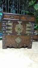 Antique Korean Burlwood veneer miniature cabinet with brass
