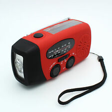 EMERGENCY RADIO  RECHARGEABLE SOLAR CRANK USB AM FM PHONE CHARGER FREE EXPRESS