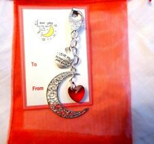 """""""I Love you to the Moon and Back"""" Moon & Red Heart Bag Charm Valentines Day Gift"""