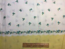 Vintage Cotton Fabric 40s PRETTY Blue Roses Yellow Pillowcase Border 35w 1yd