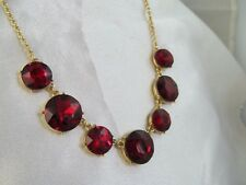 NWT MONET GOLD & LARGE MULTI-FACETED RED ROUND STONES NECKLACE, Wedding