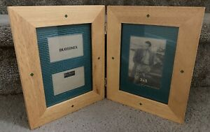"New! Rare Woods Folding Picture Frame, Light Natural & Green, 2"" x 3"" & 3""x5"""