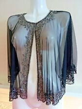 NEW PRETTY SEQUIN PONCHO CROP SHRUG TOP WEDDIN SILVER XL BOLERO SMART COVER UP