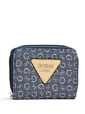 NEW GUESS AISLIN BLUE DENIM,KEY RING,ZIP AROUND, SMALL WALLET,CLUTCH,COIN PURSE