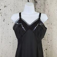Wonder Maid Sz 34 Molded Magic Black Nylon & Lace Full Slip Vintage 50s Lingerie