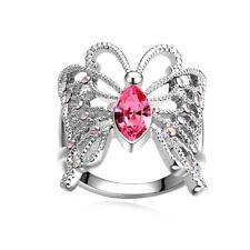 Elegance Fashion Women Butterfly Pink Gemstone Silver Wedding Ring Size 7