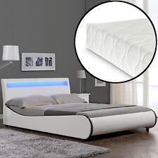 CORIUM LED Modernes Polsterbett + Matratze 140x200cm Kunst-Leder Weiß  Bett