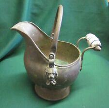 Antique Small Copper Ash SCUTTLE BUCKET w/Delft Porcelain Handle & Lion Heads