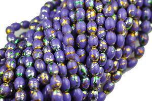 50 Purple Confetti Oval Glass Beads 7x 5MM