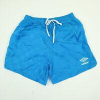 Vtg 90s UMBRO Shorts YOUTH sz LARGE Nylon Blue Check USA Soccer Thin Lightweight