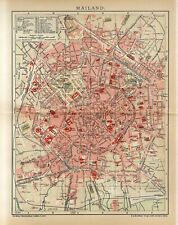 1904 ITALY MILAN CITY PLAN Antique Map dated