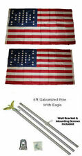 3x5 Fort Sumter SC 33 Star 2ply Flag Galvanized Pole Kit Eagle Top 3'x5'
