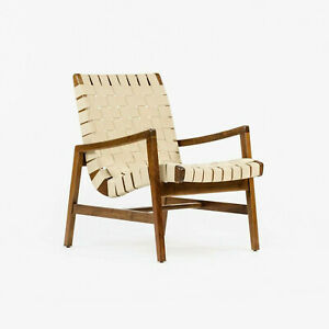 2021 Jens Risom for Knoll Lounge Chair with Arms in Light Walnut & Flax Cotton