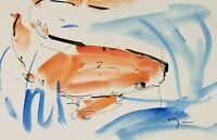 JOSE TRUJILLO ORIGINAL Watercolor Painting ABSTRACT KOI FISH POND GARDEN ART 6X9