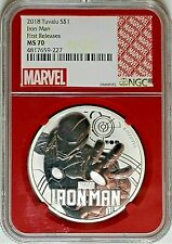 2018 Tuvalu $1 Silver Marvel Iron Man NGC MS70 First Releases