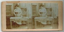 Stereoview photo stereo card risque near nude woman original c1900-1910s yy
