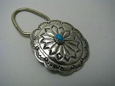 w/ Turquoise Native Amrican Artist c1970s Navajo Sterling Silver Key Ring Holder