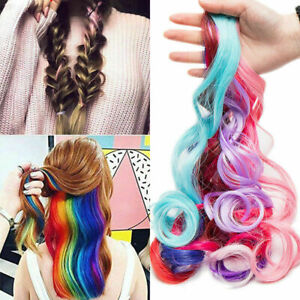 """22"""" Hair Extensions 32 Coloured XMAS Party Highlight Clip  Multi Colors Girls JK"""