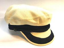 vintage 70's Usa made canvas blue trim captain disco sailor hat L Free Ship
