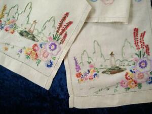 Charming Cottage Garden/Sundial  Vintage Hand Embroidered Runner/Scarf
