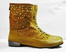 ANTELOPE SHOES LASER CUT PERFORATED BOOTS YELLOW SUEDE BACK ZIP FLAT BOOTIES 40