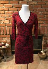 XS Sexy MOD Bod Hug Red & Black  Abstract V Neck Ruched Waist Dress*