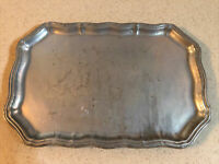 """WILTON - COLUMBIA PA. USA  PEWTER SCULPTED PLATTER / TRAY  8 1/2"""" X 13"""""""
