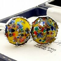 Vintage - 1950s Yellow Harlequin Glass - 15mm Silver tone Crown Cufflinks