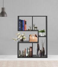 4 Cube Black Bookshelf Bookcase Shelves Kid Storage Shelving Cabinet Rack Study