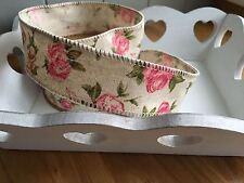 Neat Edge Rose Linen Ribbon  Wedding Sewing Trim Craft Shabby Vintage Chic 1Mtr