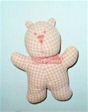 """Baby Gap Pink Cream Stuffed Plush Cloth Teddy Bear Rattle Toy 7"""""""