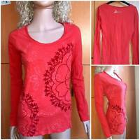 DESIGUAL Women's Red Knitted Blouse, Long Sleeve, Round Neck. Size M
