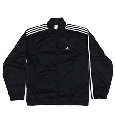 Adidas Black White Racing Stripe Zip Up Windbreaker Mens M