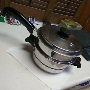 "Saladmaster Stainless Steel 8"" Steamer Strainer Insert Pan + Saucepan Base"