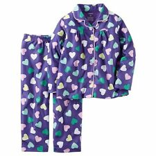 NWT Carter's Girls Winter Pajamas Size 10 Pjs Purple Fleece Sleep Pants 2pc NEW