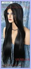 LONG STRAIGHT HEAT SAFE LACE FRONT WIG CLR 1B BLACK GORGEOUS SEXY US SELL 265 A