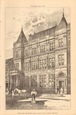 1896 ANTIQUE PRINT- ARCHITECTURE - NEW BANK LEICESTER