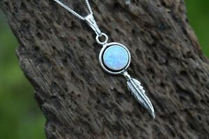 925 STERLING SILVER BLUE OPAL GEMSTONE ROUND FEATHER NECKLACE * TRIPLE COLOUR *