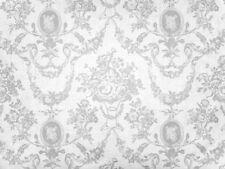 0,5m Toile De Jouy Muster, Rosen, Herzen edel, Weiß auf Weiß Baumwolle, Hochzeit