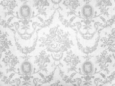 0,5m Toile de Jouy Pattern, Roses, Hearts Noble, White on White Cotton, Wedding
