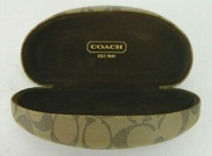 Coach Signature C Monogram Tan Brown Hard Clamshell Eye Glasses Case