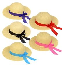 Girls Straw Sun Hat, Easter, Dressy, Size 4-8 Years Old (Black Ribbon)
