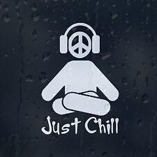 Just Chill Listen Music Headphones Magenta Peace Sign Car Decal Vinyl Sticker