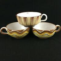 Set of 3 VTG Handled Soup Bowls Mugs Italian Pottery Hand Thrown Painted Italy