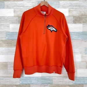 Denver Broncos 1/4 Zip Raglan Sweatshirt Sweater Orange NFL Football Mens Large