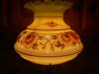 "VTG HURRICANE LAMP SHADE GWTW MILK GLASS YELLOW HD PAINT FLORAL GLOBE 7"" Fitter"